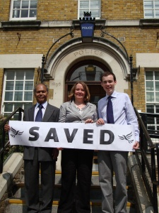 Matt, Jo and Syed outside Kentish Town Police Station
