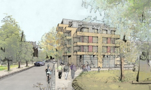 Camden Council's proposals for Maitland Park, looking from Maitland Park Villas towards St. Dominic's Church.